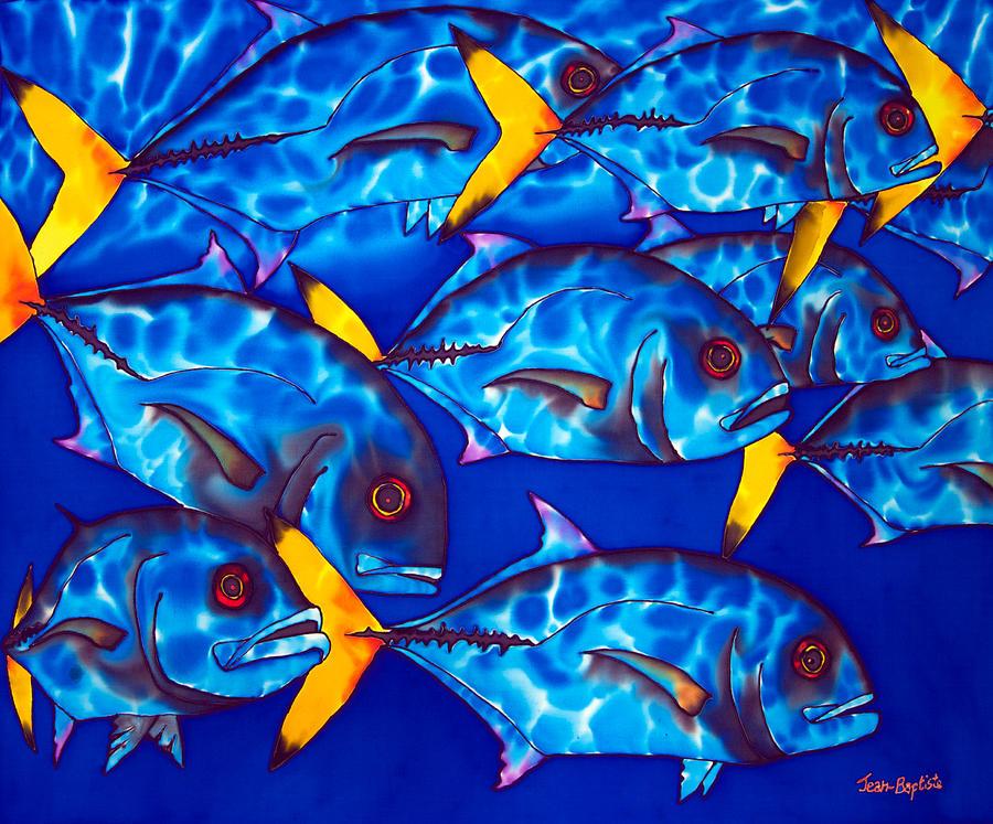 Reef Fish Painting - Schooling  Jack Fish by Daniel Jean-Baptiste