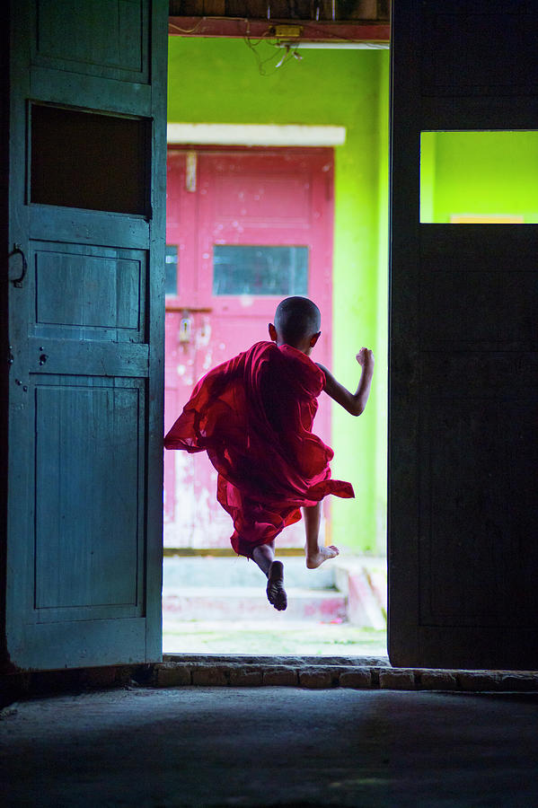 Schools Out - Young Monk Heading Out To Photograph by Kirklandphotos