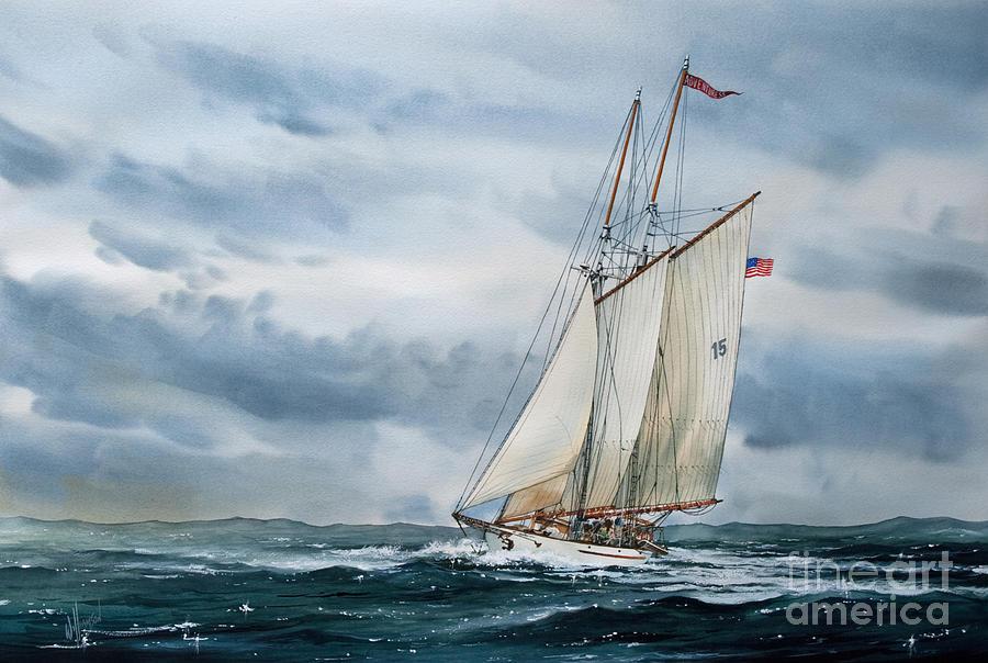 Maritime Print Painting - Schooner Adventuress by James Williamson