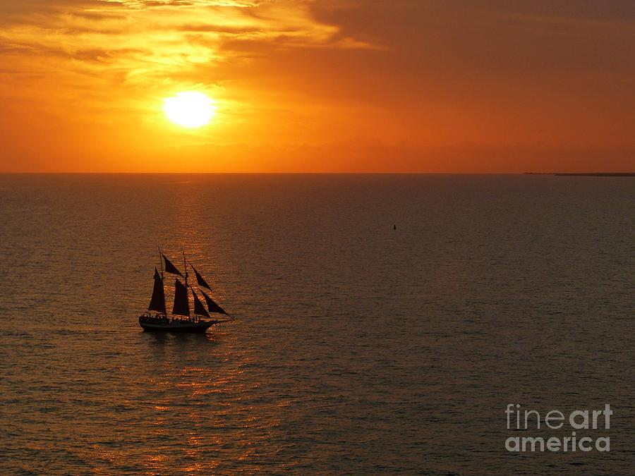 Schooner Photograph - Schooner Jolly Rover Sailing At Sunset In Key West Florida by Christine Stack
