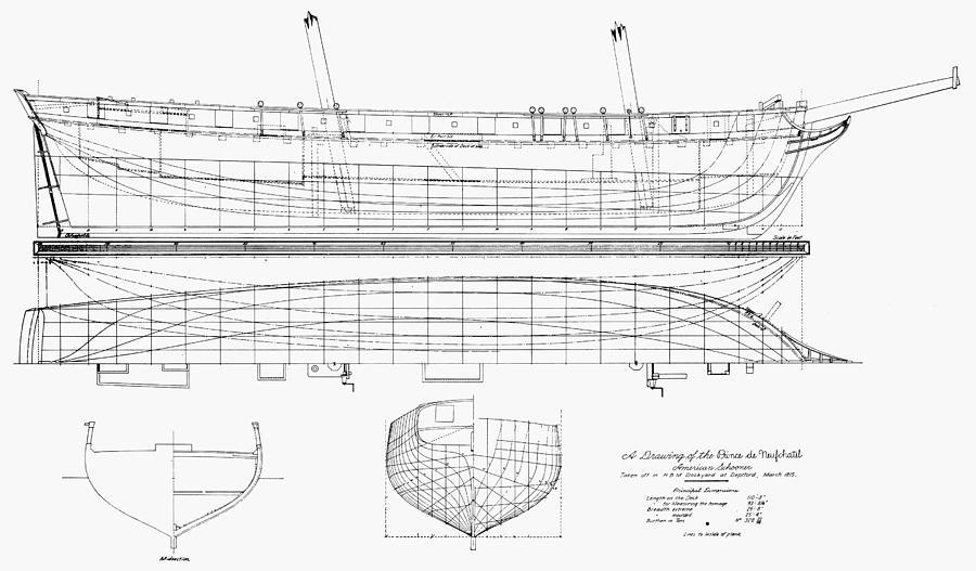 Schooner Plans 1812 Photograph By Granger