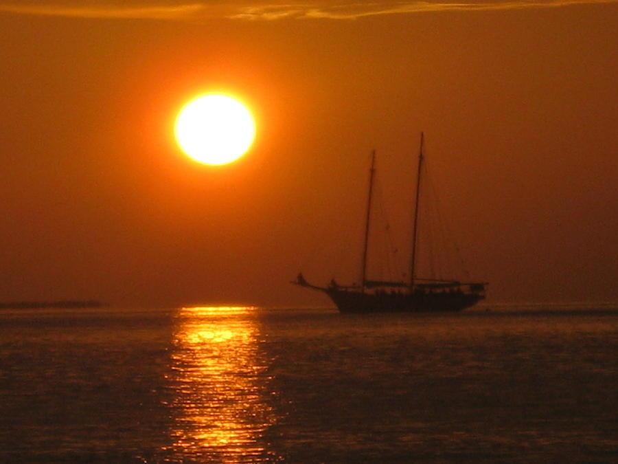 Sunset Photograph - Schooner Sunset by Barbara Von Pagel