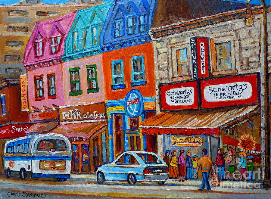 Montreal Painting - Schwartzs Deli Restaurant Montreal Smoked Meat Plateau Mont Royal Streetscene Carole Spandau by Carole Spandau