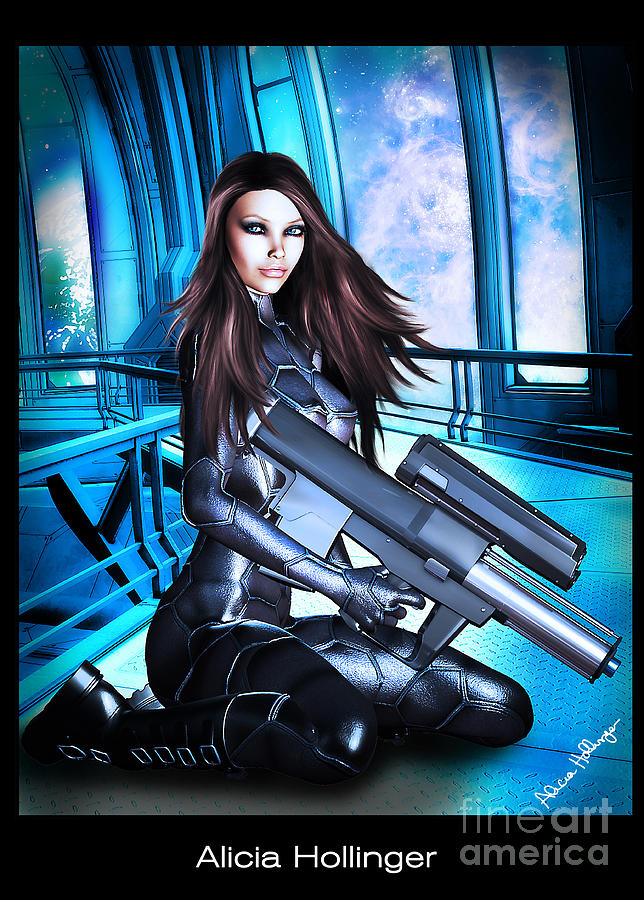Sci-fi Mixed Media - Sci-fi Brunette With A Big Gun by Alicia Hollinger
