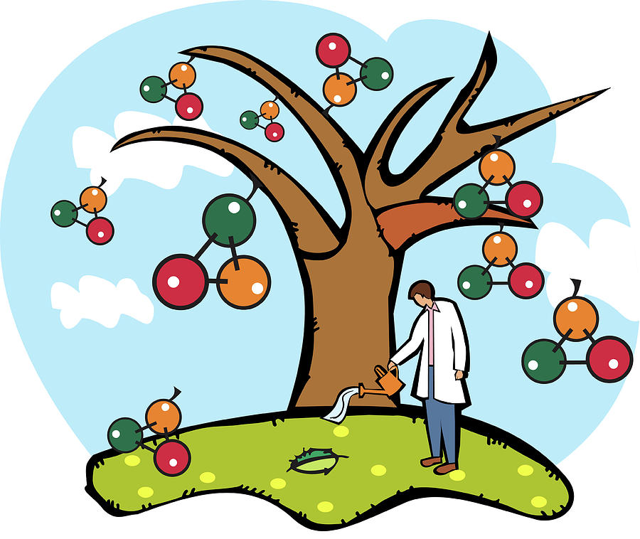 Atom Photograph - Scientist Watering An Atomic Structure Tree by Fanatic Studio / Science Photo Library