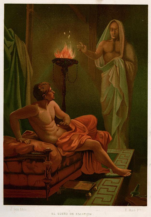 Scipio Drawing - Scipios Dream The Roman General Scipio by Mary Evans Picture Library