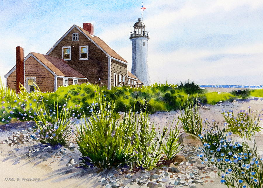 Clouds Painting - Scituate Light By Day by Karol Wyckoff