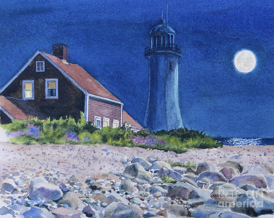 House Painting - Scituate Light By Night by Karol Wyckoff