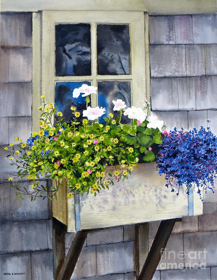 Window Painting - sconset Window Box by Karol Wyckoff