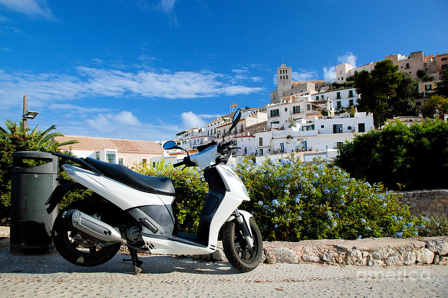 Ibiza Photograph - Scooter And Panorama Of Ibiza Spain by Michal Bednarek