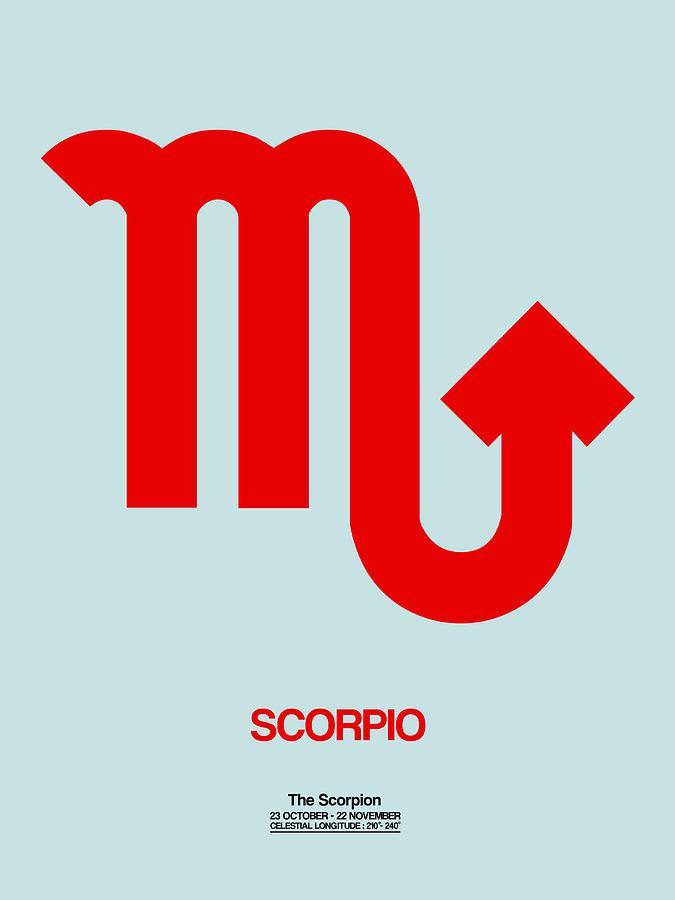 Scorpio Digital Art - Scorpio Zodiac Sign Red by Naxart Studio