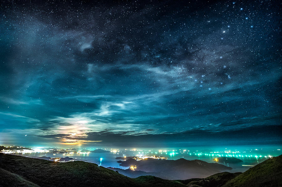 SCORPIUS AND THE MOON over hong kong cityscape Photograph by Photo by Tse Hon Ning