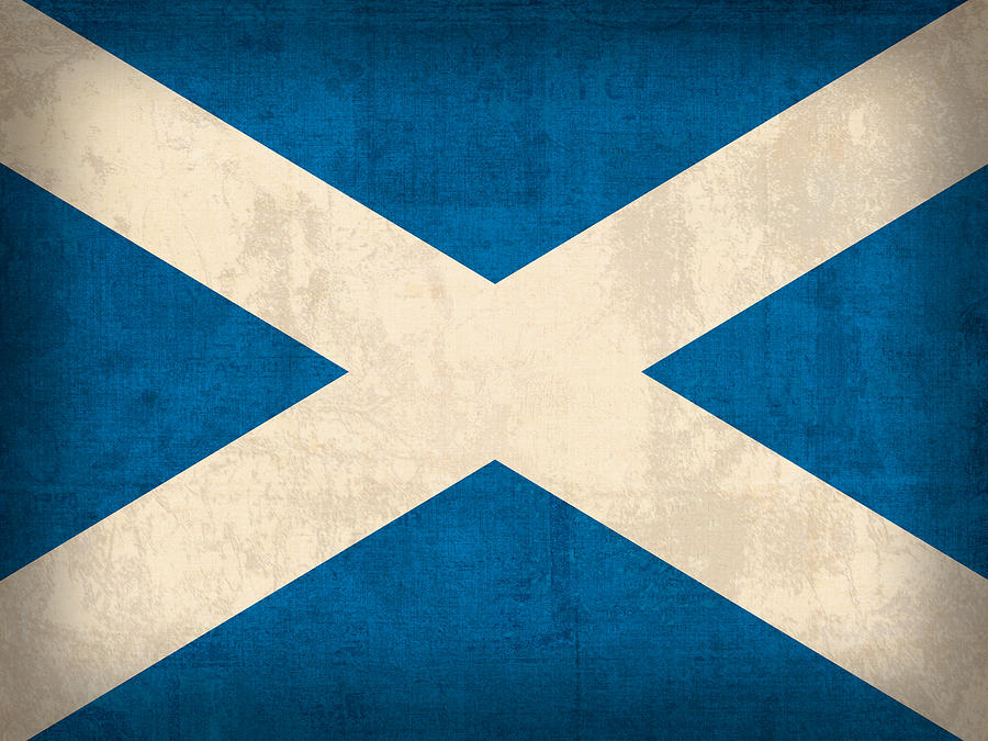 Scotland Flag Vintage Distressed Finish Mixed Media by Design Turnpike