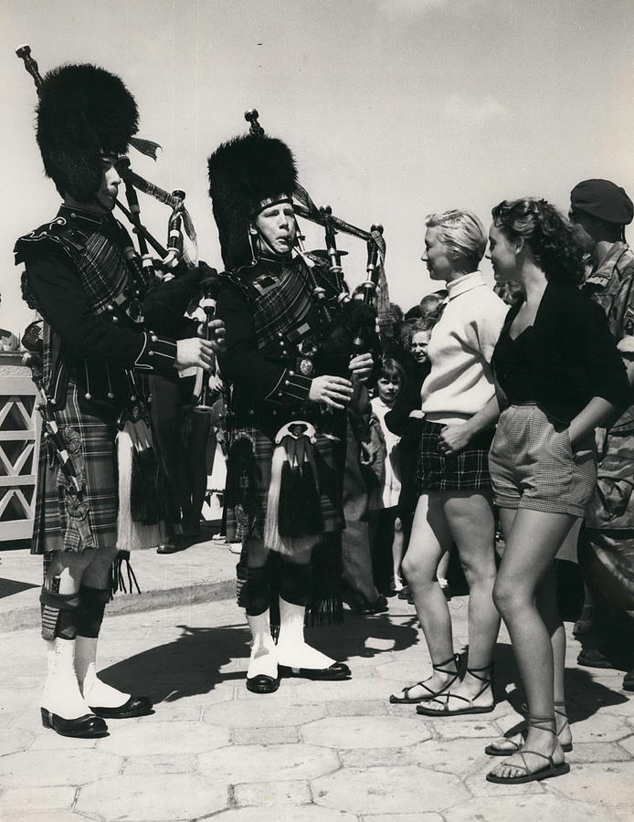 Retro Photograph - Scots Guards Entertained In Le Tourquet - And Do A Bit Of by Retro Images Archive