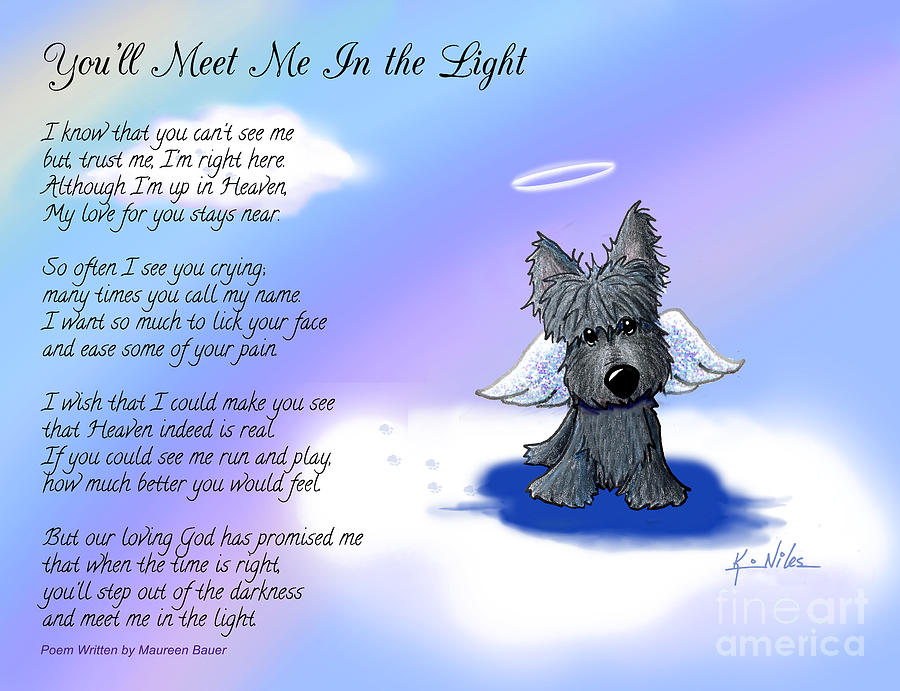 Scottie Drawing - Scottie Terrier Angel And Poem by Kim Niles