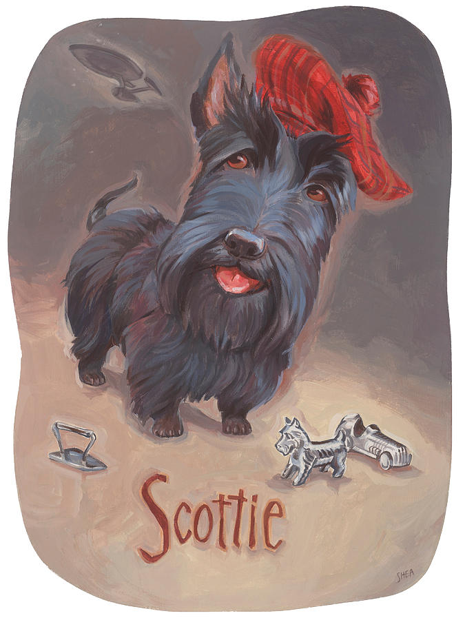 Beam Me Up Scottie Painting - Scotties Beaming by Shawn Shea