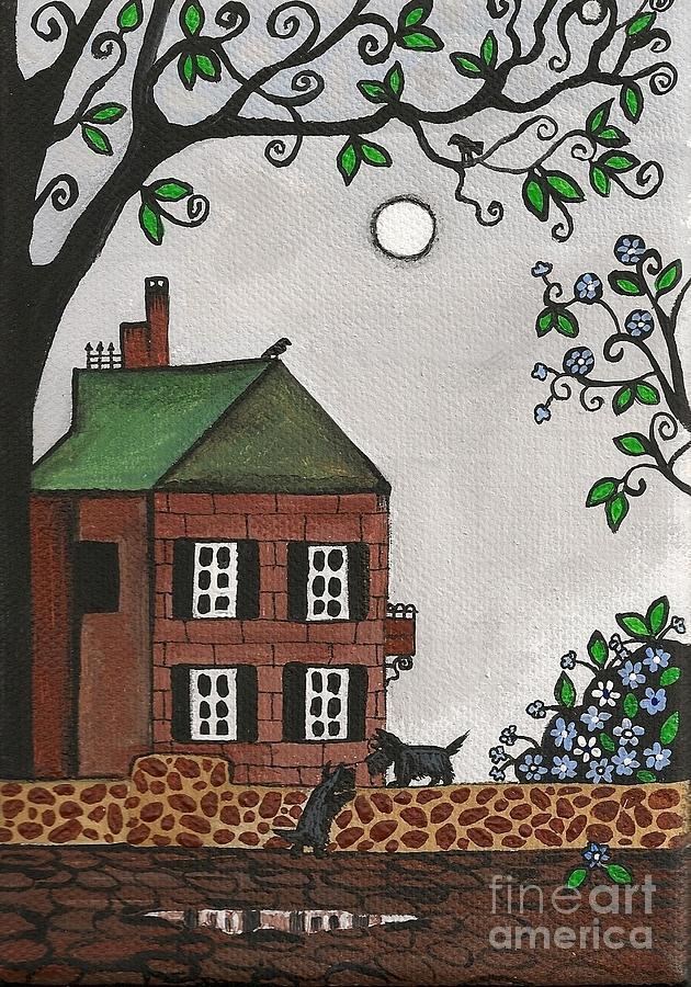 Scottish Terrier Painting - Scotties On An Overcast Day by Margaryta Yermolayeva