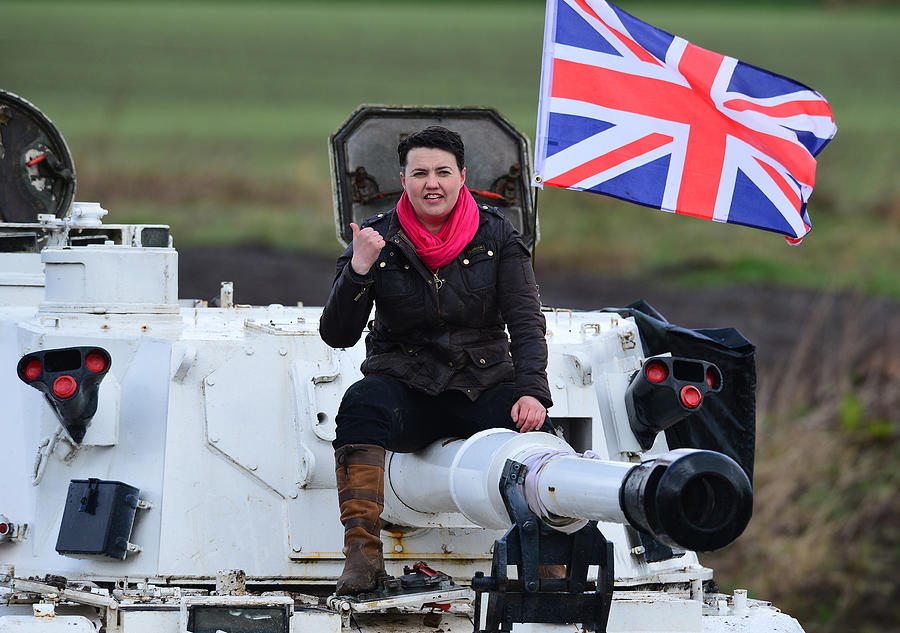 Scottish Conservative Leader Drives A Tank Photograph by Mark Runnacles
