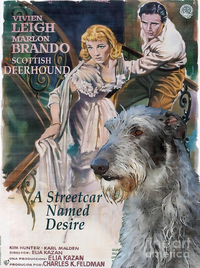 Scottish Deerhound Painting - Scottish Deerhound Art - A Streetcar Named Desire Movie Poster by Sandra Sij