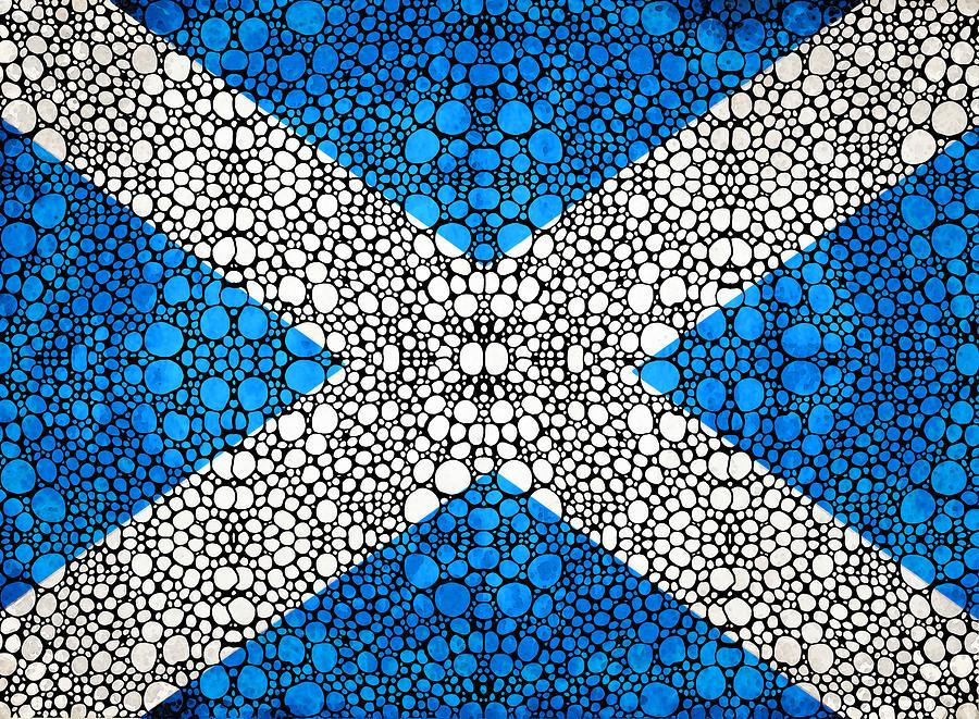 Scotland Painting - Scottish Flag - Stone Rockd Scotland Art By Sharon Cummings by Sharon Cummings