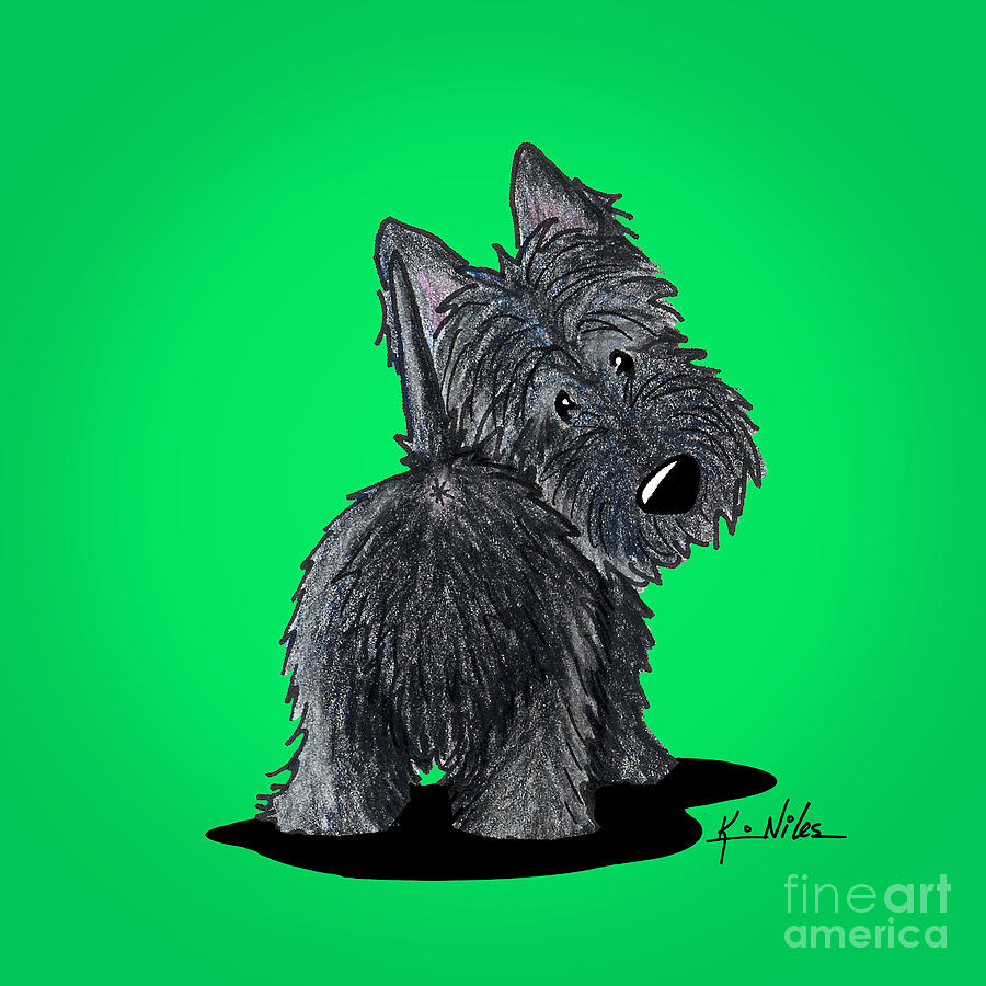 Scottish Terrier Drawing - Scottish Moon by Kim Niles