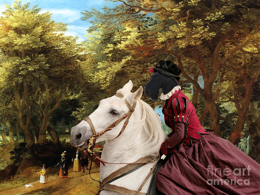 Scottish Terrier Painting - Scottish Terrier Art - Pasague With Horse Lady by Sandra Sij