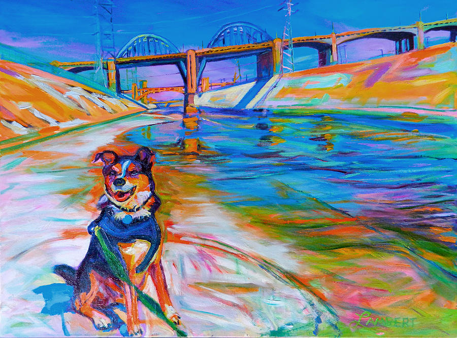 Dog Painting - Scout the River Guard by Bonnie Lambert