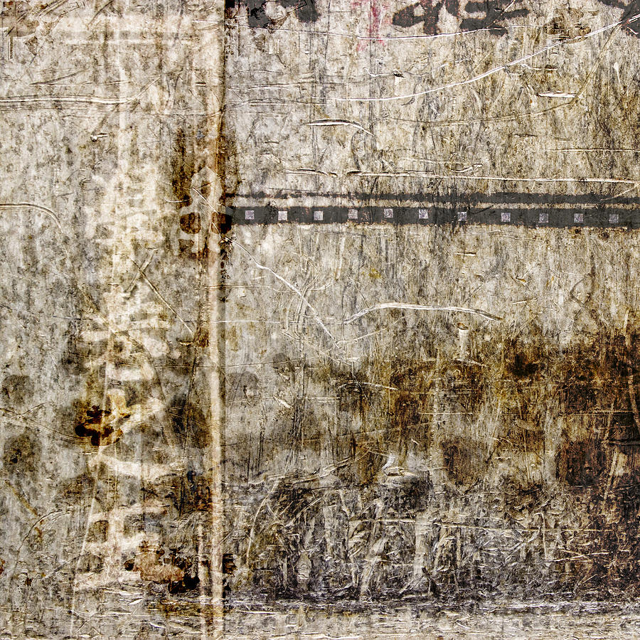 Abstract Photograph - Scratched Metal and Old Books Number 1 by Carol Leigh