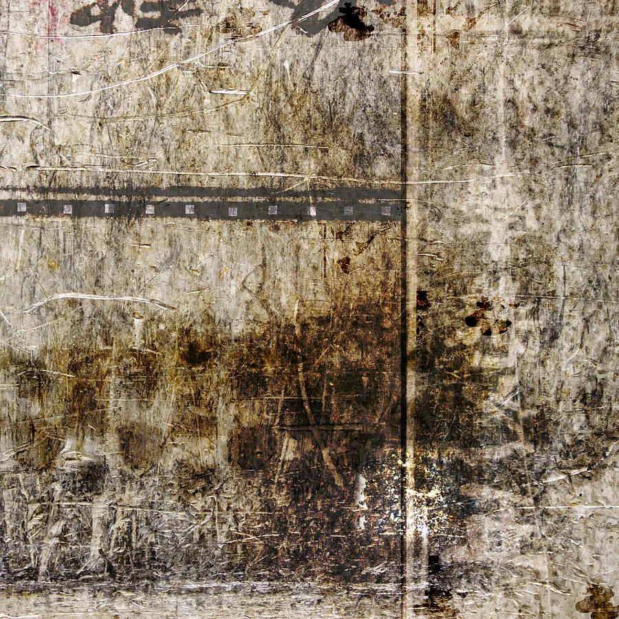 Abstract Photograph - Scratched Metal and Old Books Number 2 by Carol Leigh