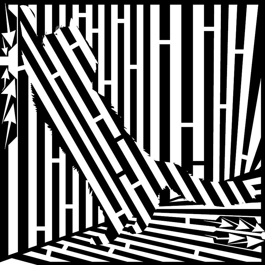Maze Painting - Scratching Cat Maze by Yonatan Frimer Maze Artist