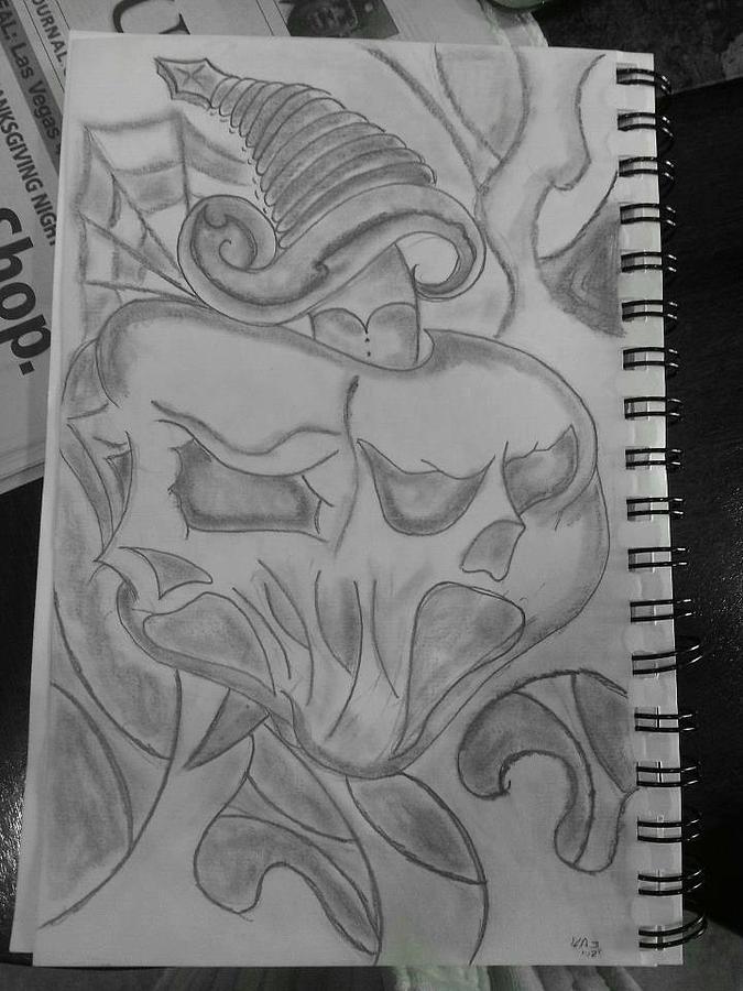 Skullsheartdagger Drawing - Screaming by Kristin Smith