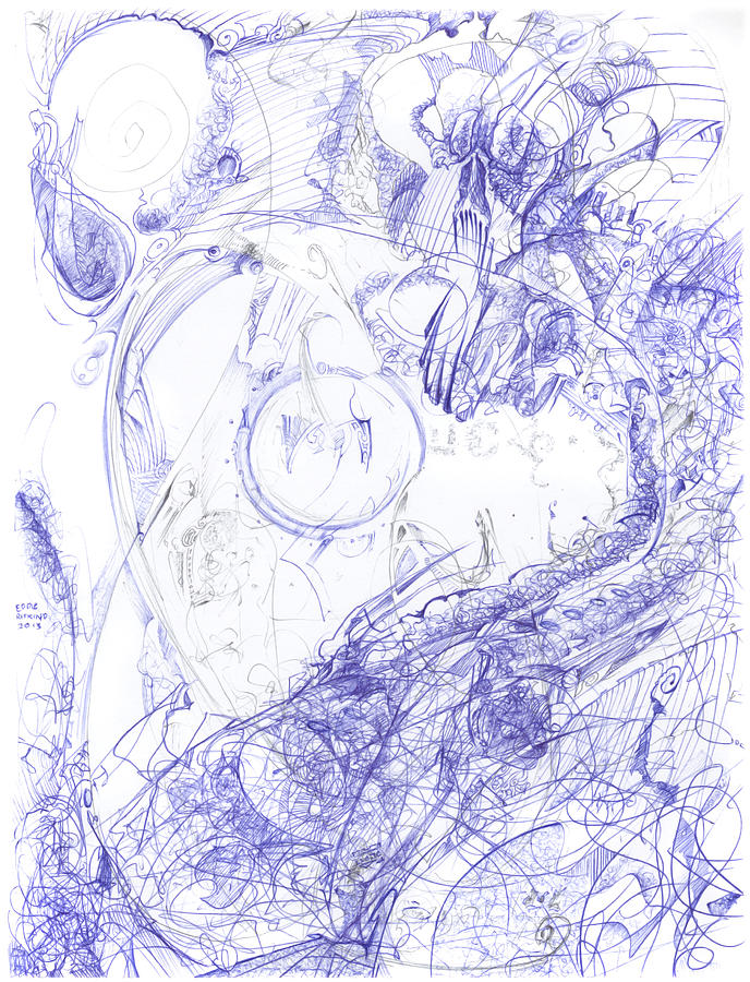 Ballpoint Pen Drawing - Screaming Serpent by Eddie Rifkind