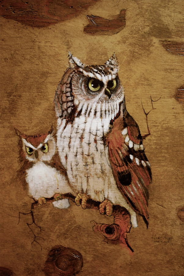 Screech Owls Painting By Richard Hinger