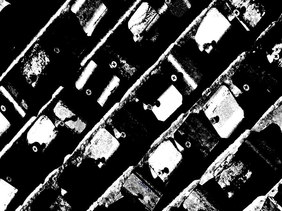 Urban Photograph - Screwed Metal Tab Abstract by Chris Berry