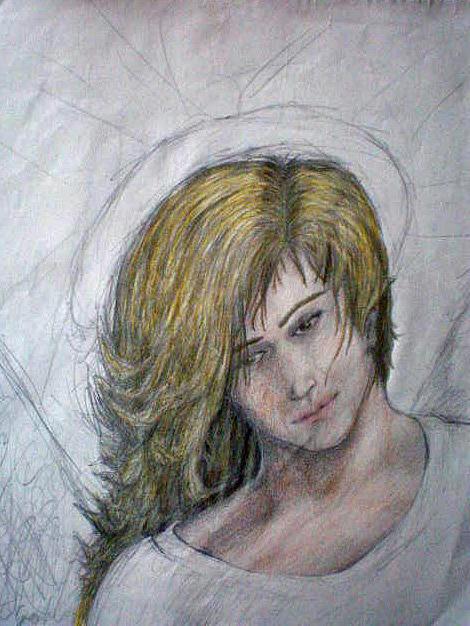 Angel Drawing - Scribble Angel by Steve Spagnola