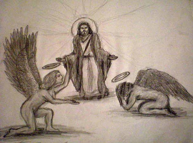 Angels Drawing - Scribble Bjesus by Steve Spagnola