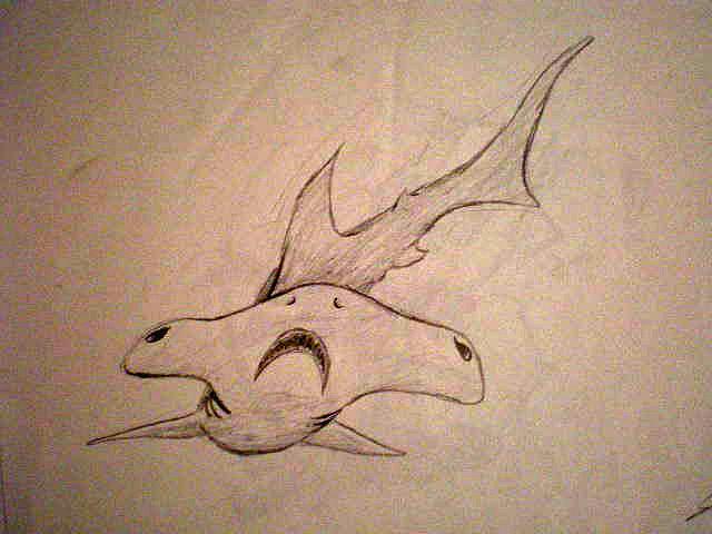 Hammerhead Drawing - Scribble Shark by Steve Spagnola