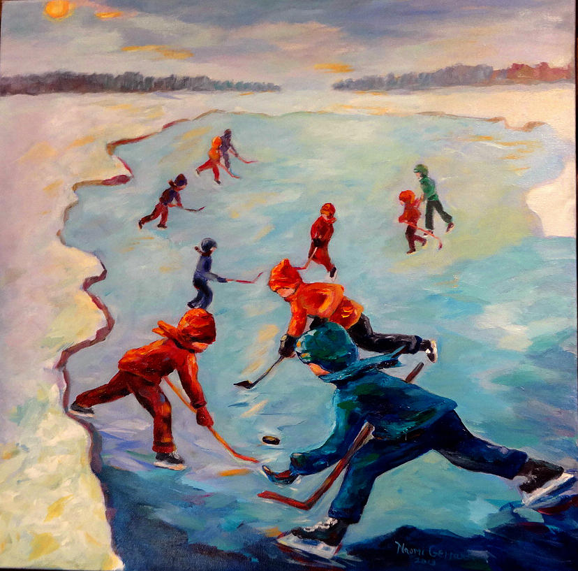 Winter Painting - Scrimmages On Our Lake by Naomi Gerrard