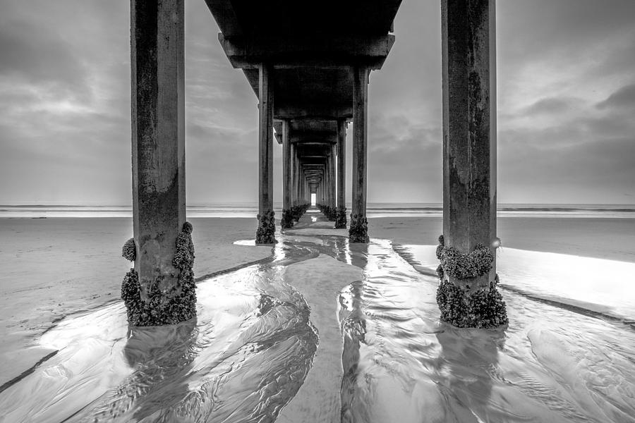 Scripps Pier Photograph - Scripps Pier Black and White by Robert  Aycock