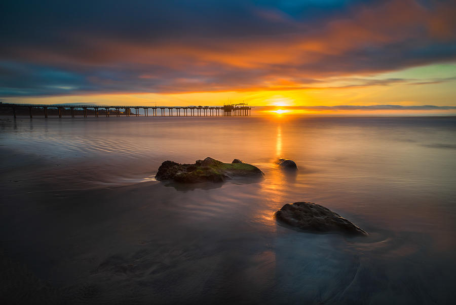 La Jolla Photograph - Scripps Pier Sunset 2 by Larry Marshall