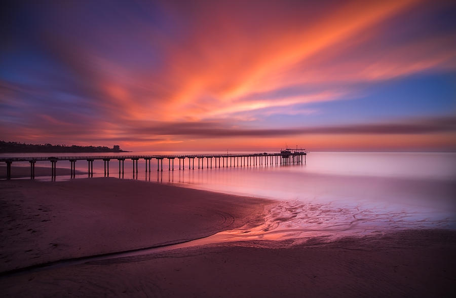 La Jolla Photograph - Scripps Pier Sunset by Larry Marshall