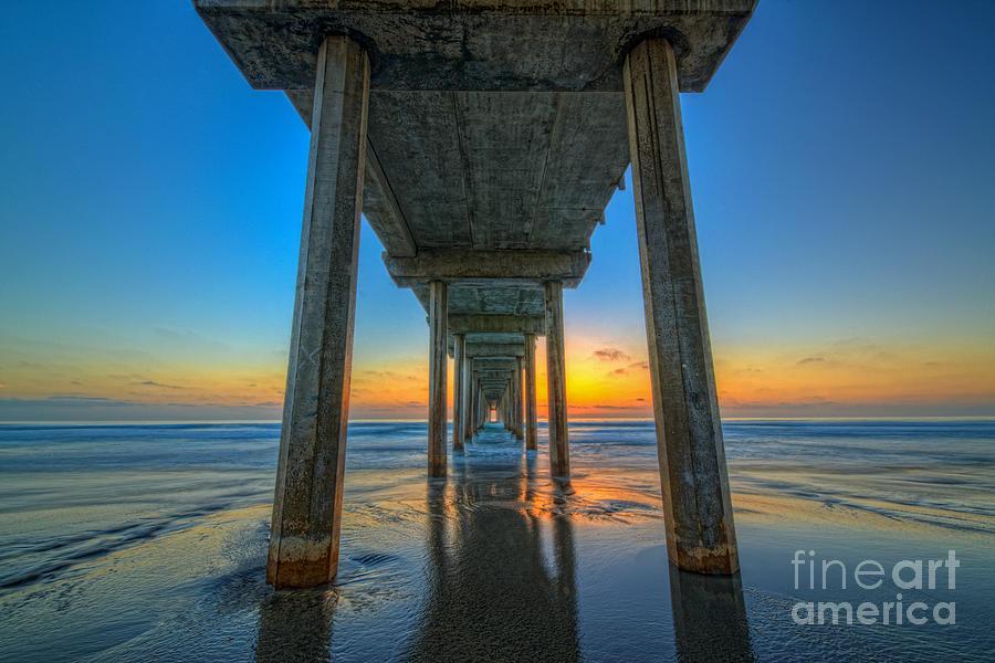 Mv Photograph - Scripps Pier Sunset by Michael Ver Sprill