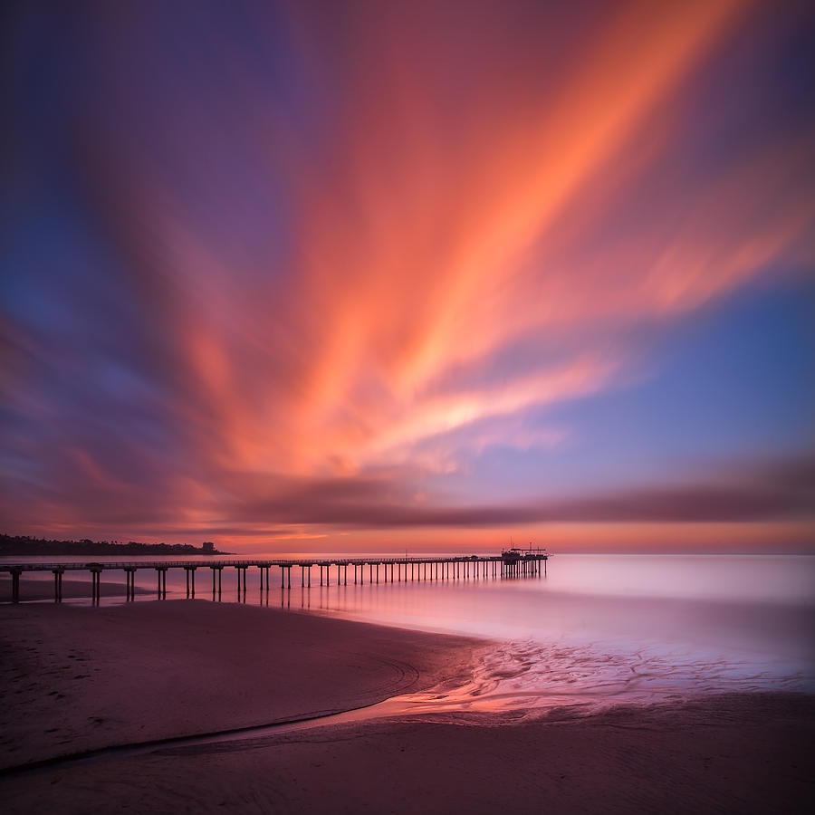 La Jolla Photograph - Scripps Pier Sunset - Square by Larry Marshall