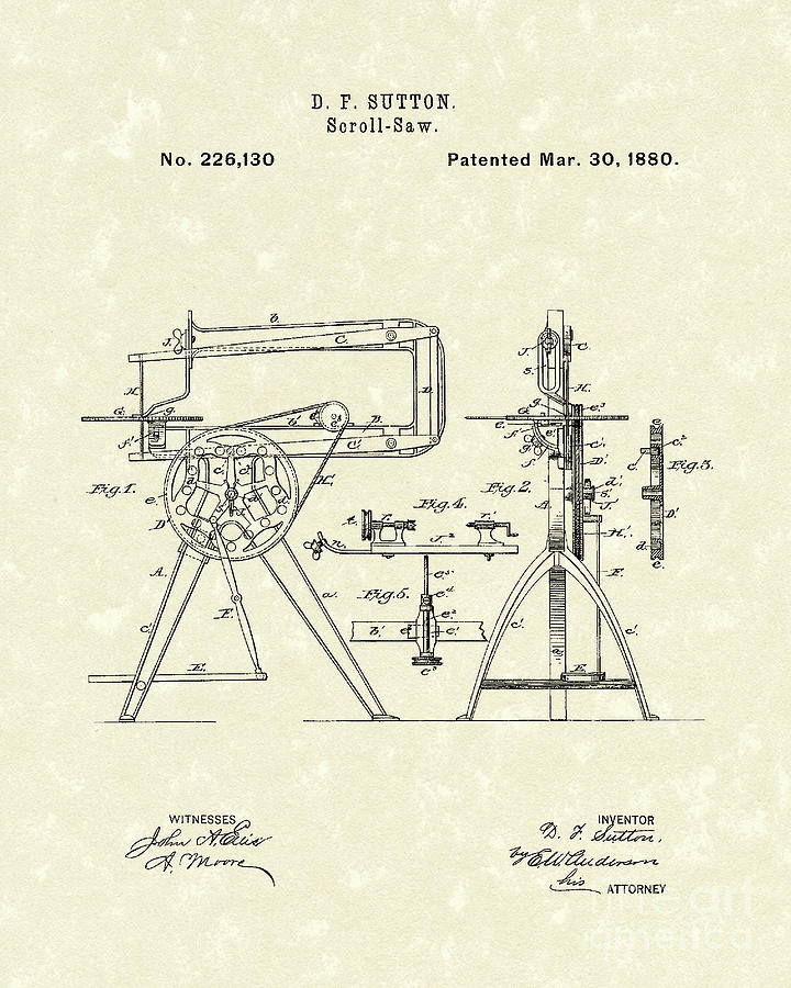 Sutton Photograph - Scroll-saw 1880 Patent Art by Prior Art Design