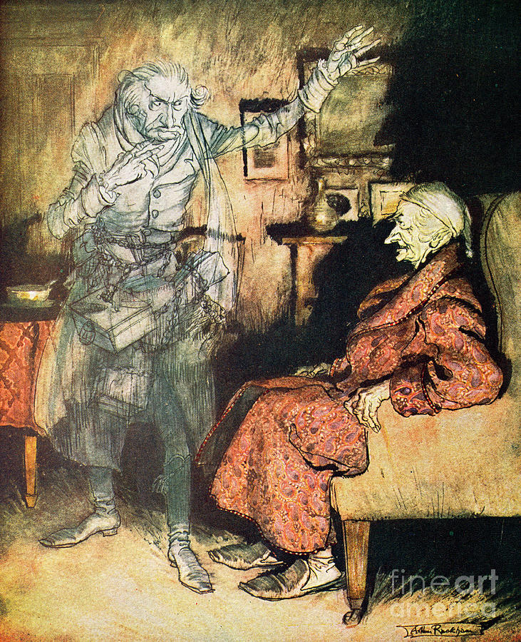 Interior Drawing - Scrooge And The Ghost Of Marley by Arthur Rackham