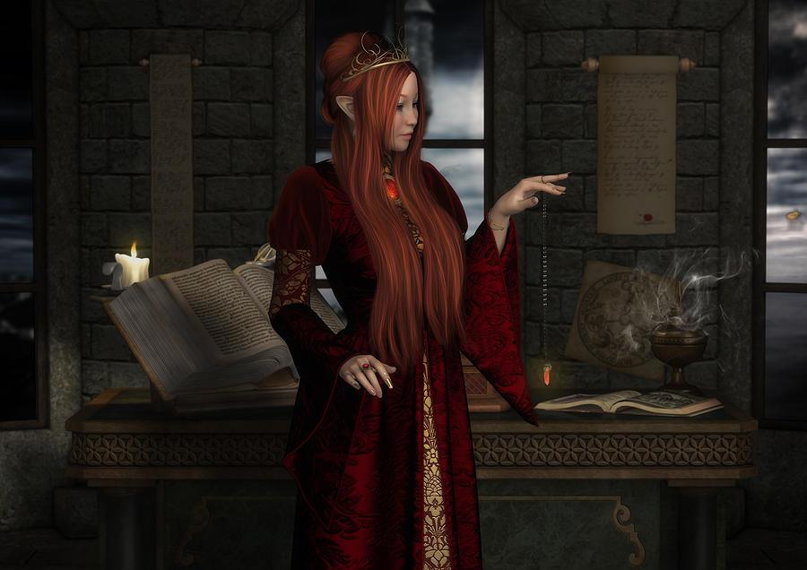 Elven Wizard Digital Art - Scryer by Rachel Dudley