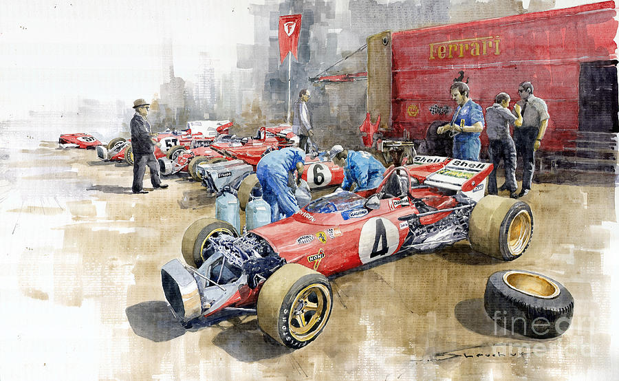 Automotive Painting - Scuderia Ferrari Paddock Spanish Gp 1971 Ferrari 312b2  by Yuriy Shevchuk