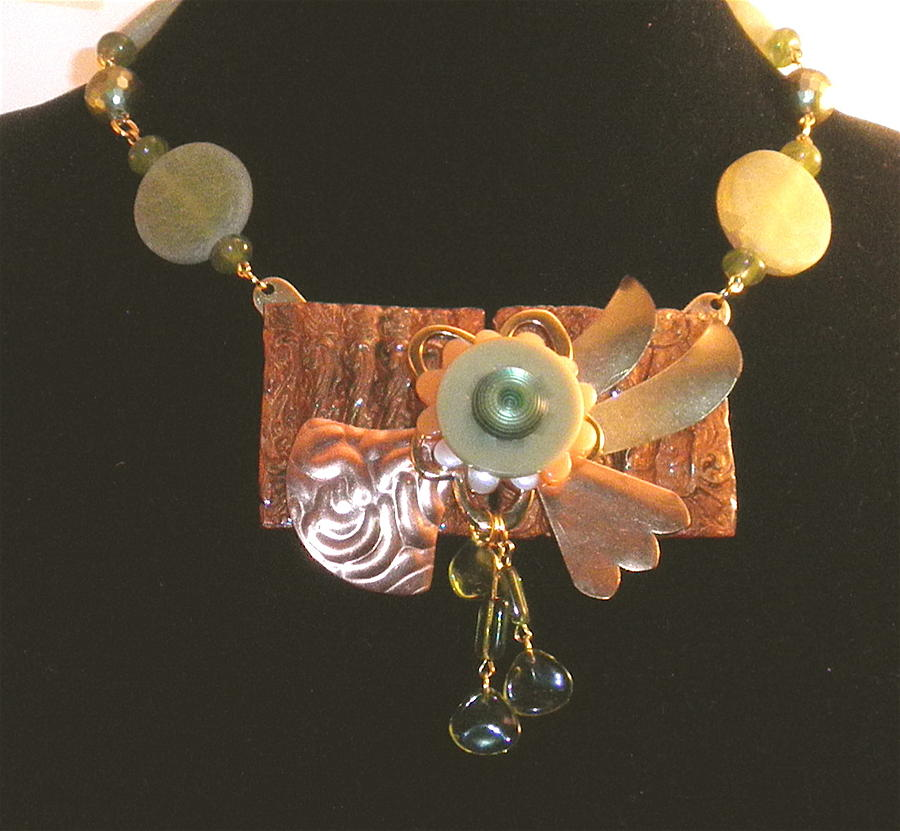 Sculptural Floral Art Necklace by Outre Art  Natalie Eisen