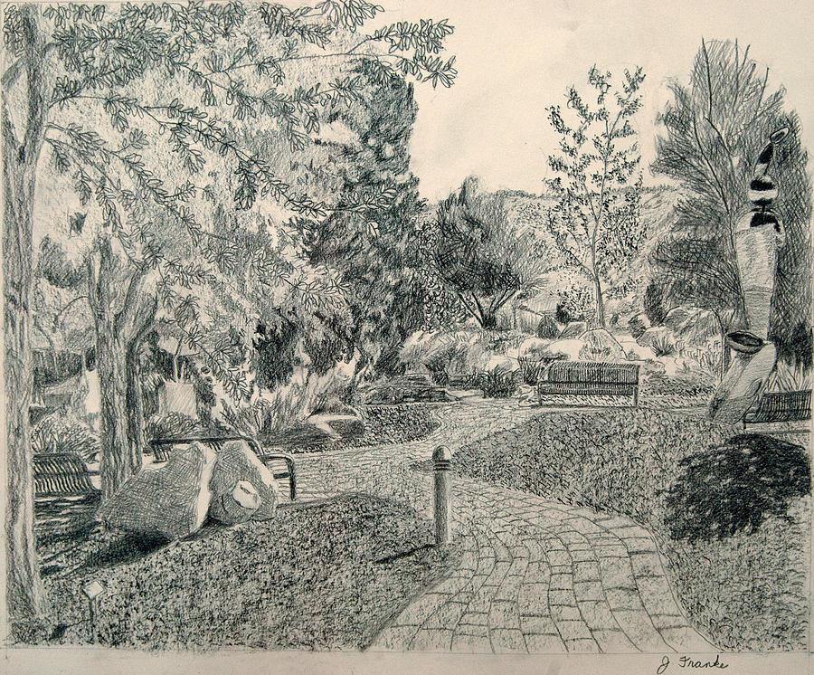Sculpture Garden Drawing - Sculpture Garden In The Fall by Joanna Franke