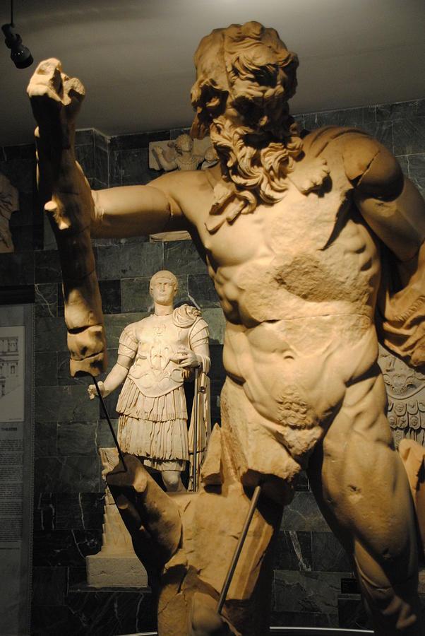 Antalya Museum Photograph - Sculpture Through Sculpture -  Zeus And Trajan  by Jacqueline M Lewis